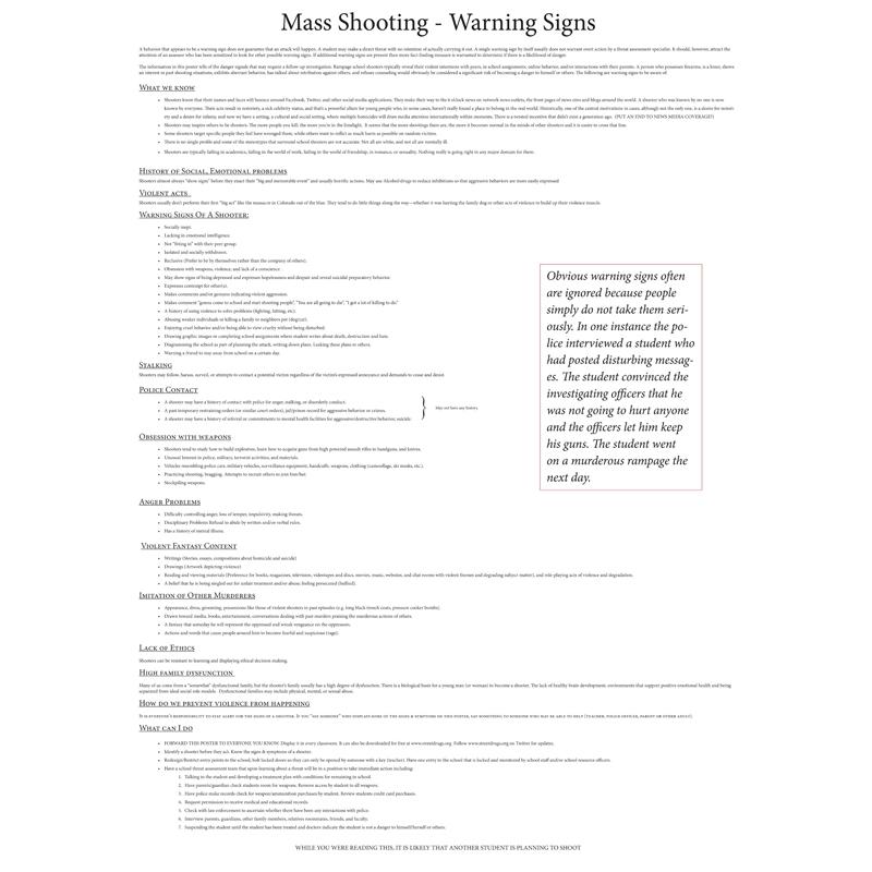 Mass Shootings Warning Signs